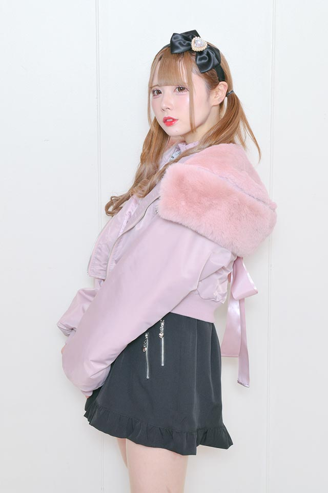 ☆29%OFF☆【MA*RS】N-2Bファー&バックリボン付きブルゾン - ピンク size-F