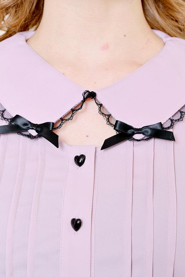 【MA*RS】ハートボタン&ダブルリボンブラウス - ピンク size-F