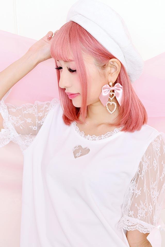 【Princess Melody】♪ハート×レース袖TOPS♪ - ホワイト size-F