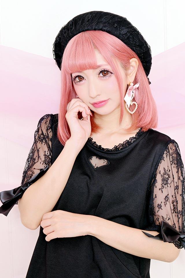 ☆37%OFF☆【Princess Melody】♪ハート×レース袖TOPS♪ - ブラック size-F