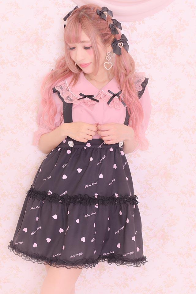 【Princess Melody】♪ハート柄フレアジャンスカ♪ - ブラック size-F