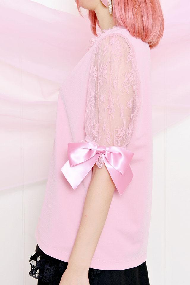 ☆37%OFF☆【Princess Melody】♪ハート×レース袖TOPS♪ - ピンク size-F
