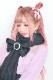【Princess Melody】♪パールリング付きおりぼんぱっちんマフラー♪ - ブラック size-F