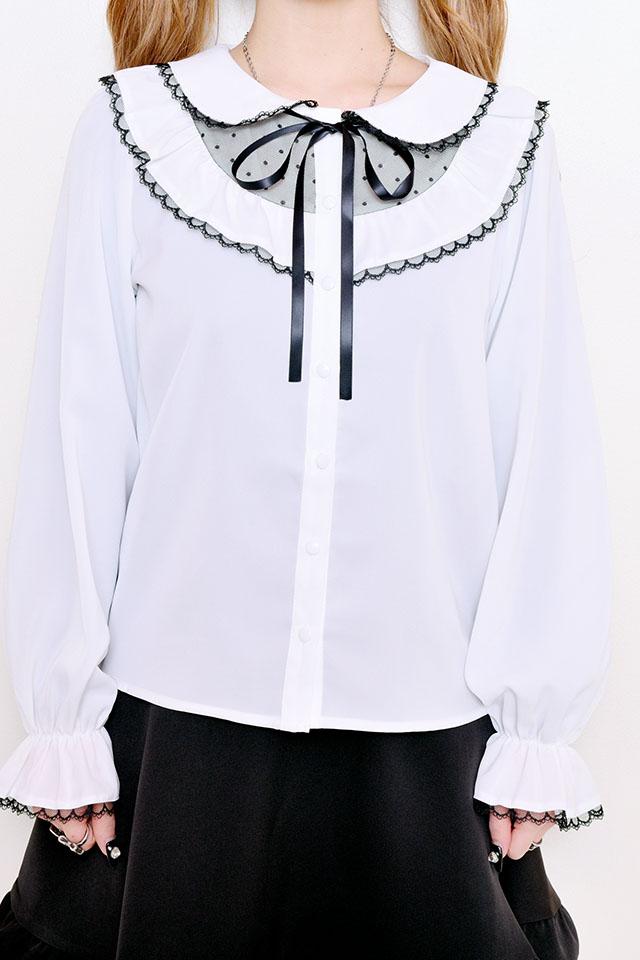 【MA*RS】フリルドットチュールブラウス - ホワイト size-F