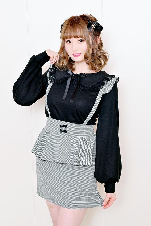 【MA*RS】レース付き丸衿TOPS - ブラック size-F