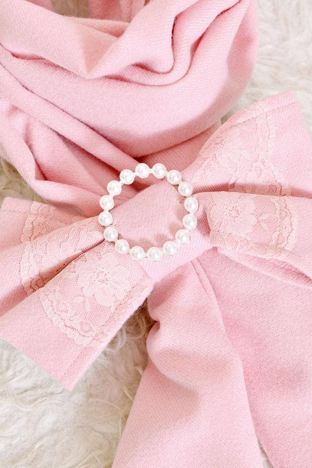 【Princess Melody】♪パールリング付きおりぼんぱっちんマフラー♪ - ピンク size-F