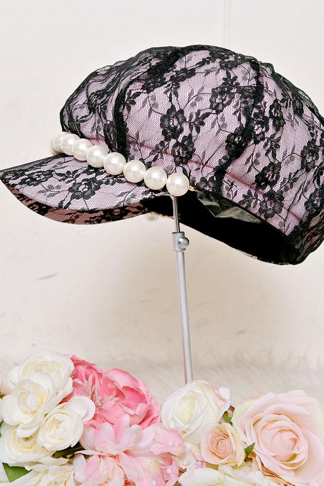 【Princess Melody】♪びっくパール付(取り外し可)レースキャスケット♪ - ピンク size-F