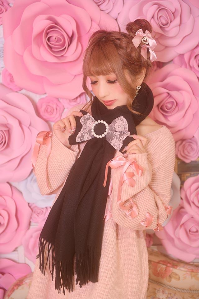 【Princess Melody】♪パールリング付きおりぼんぱっちんマフラー♪ - BLK/ピンク size-F