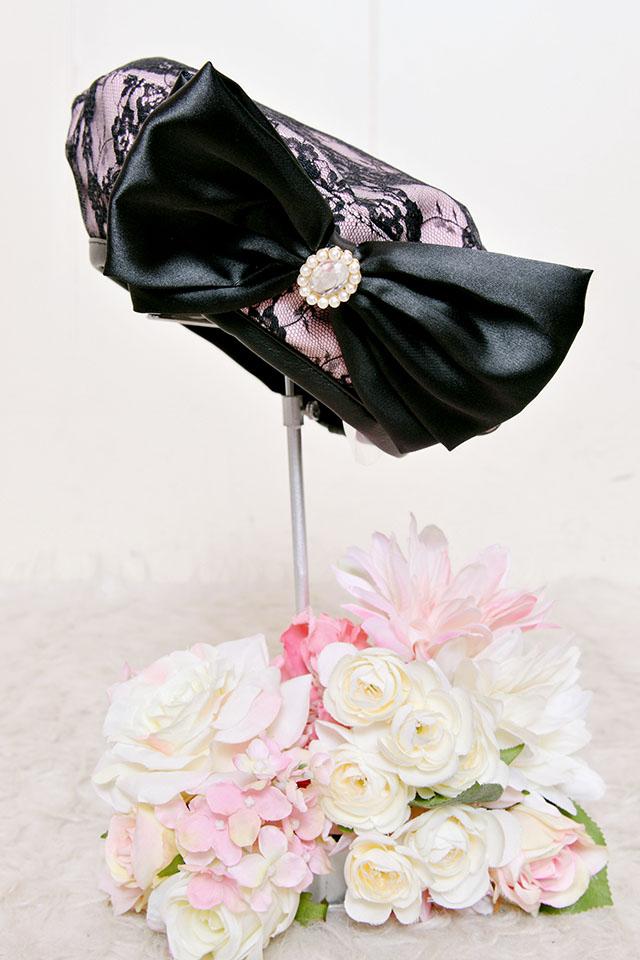 【Princess Melody】♪フロントおりぼん付レースベレー帽♪ - ピンク size-F