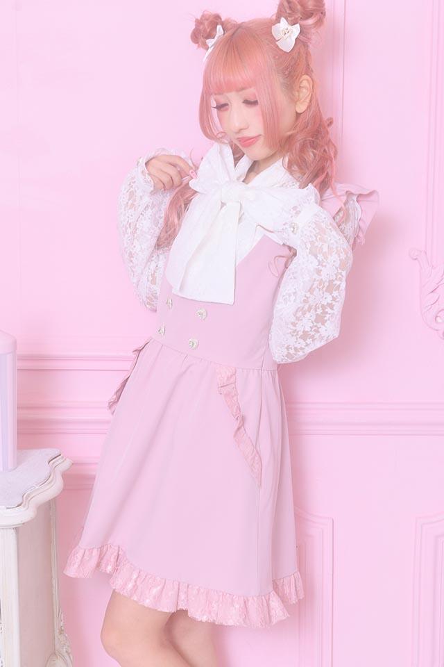 【Princess Melody】♪レースフリル×ハートボタンジャンスカ♪ - ピンク size-F