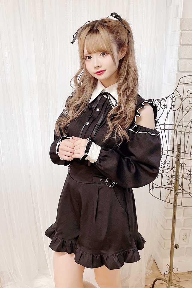 【MA*RS】☆WEB限定☆肩あきクレリックブラウス - ブラック size-F