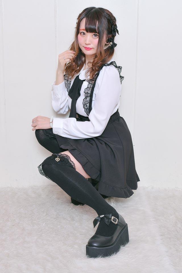 【MA*RS】ハートバックルリボン厚底シューズ - ブラック