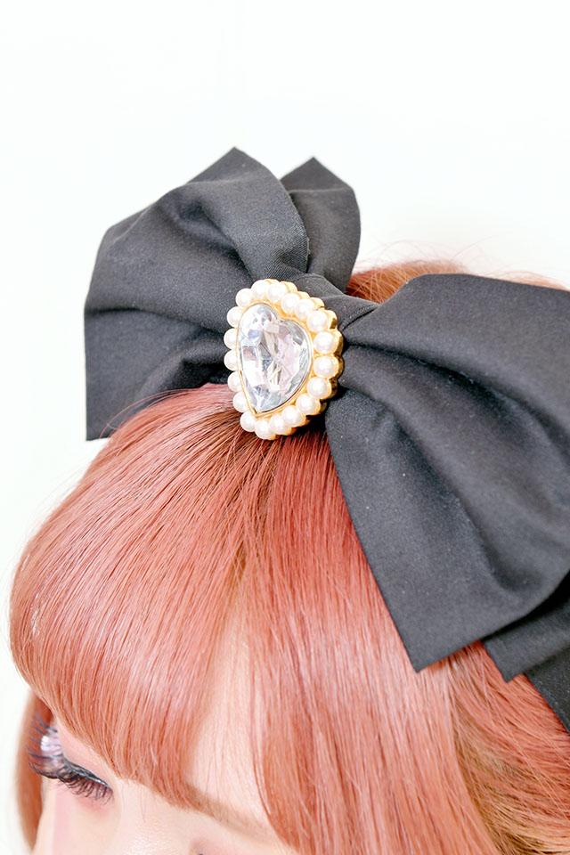 【Princess Melody】♪きらきらハートビジュー×びっくおりぼんカチューシャ♪ - ブラック size-F