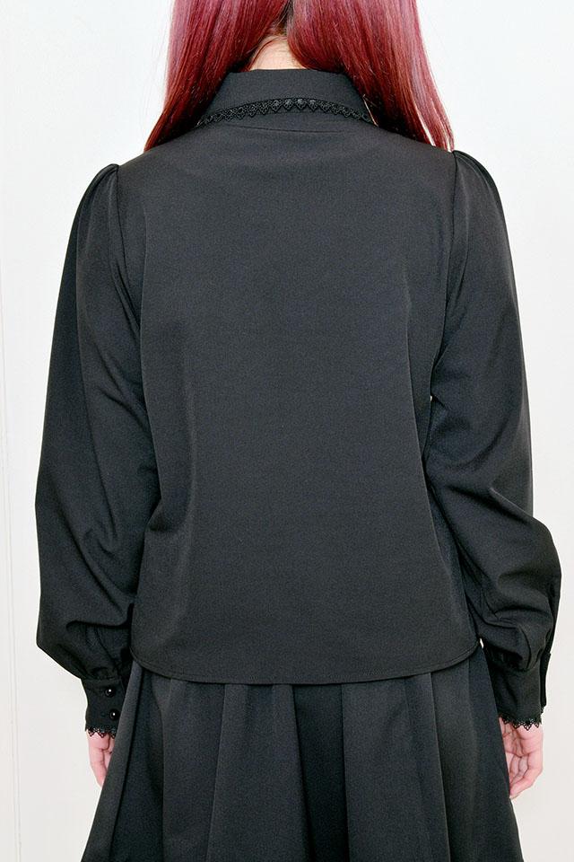 【MA*RS】リボン襟ブラウス - ブラック size-F