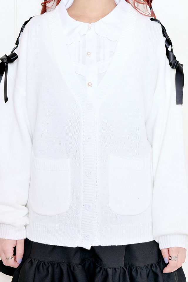 【MA*RS】肩レースアップりぼんカーデ - ホワイト size-F