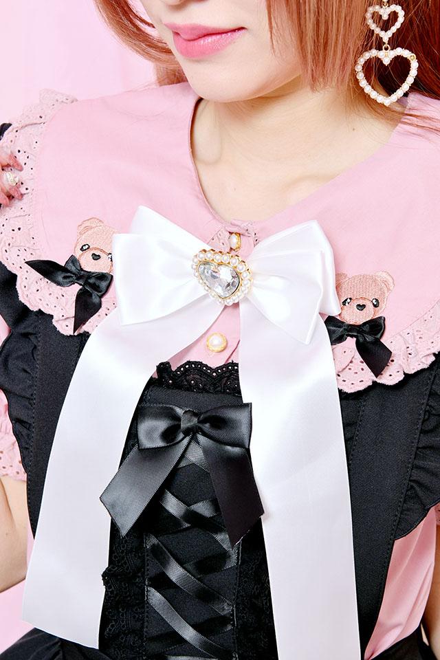 【Princess Melody】♪きらきらハートビジューおりぼんクリップ♪ - ホワイト size-F