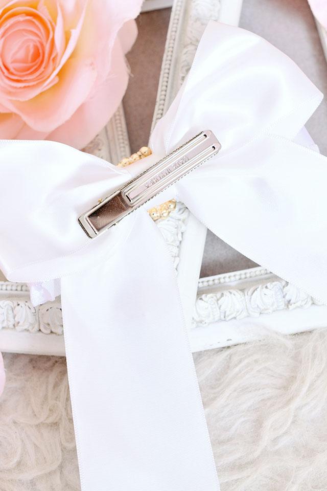 【Princess Melody】♪パールハートサイドフリルおりぼんクリップ♪ - ホワイト size-F