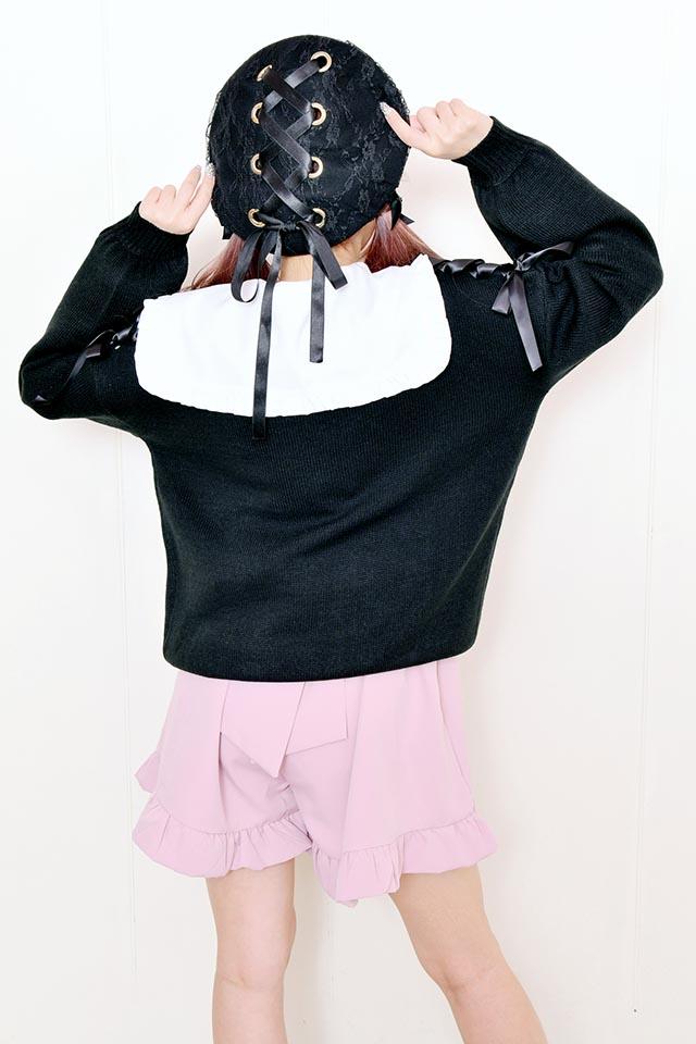 【MA*RS】肩レースアップりぼんカーデ - ブラック size-F
