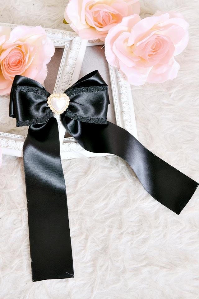 【Princess Melody】♪パールハートサイドフリルおりぼんクリップ♪ - ブラック size-F