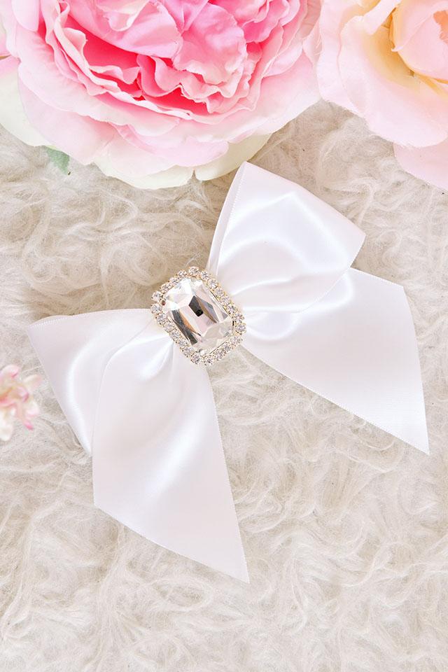 【Princess Melody】♪ビックビジュープリティおりぼんクリップ♪ - ホワイト size-F
