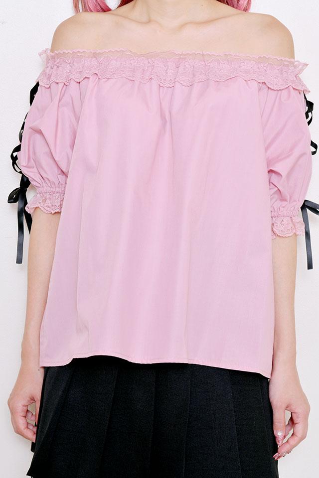 ☆28%OFF☆【Princess Melody】♪レースアップ袖オフショルブラウス♪ - ピンク size-F