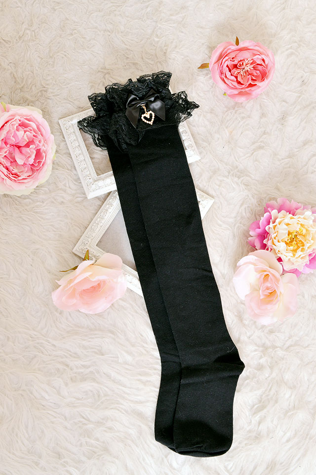【Princess Melody】♪パールハート付きおりぼんニーハイソックス♪ - ブラック size-F