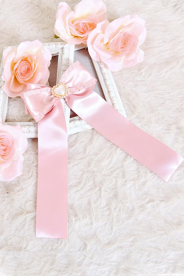 【Princess Melody】♪パールハートサイドフリルおりぼんクリップ♪ - ピンク size-F