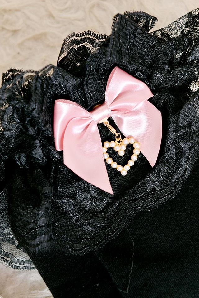 【Princess Melody】♪パールハート付きおりぼんニーハイソックス♪ - ピンク size-F
