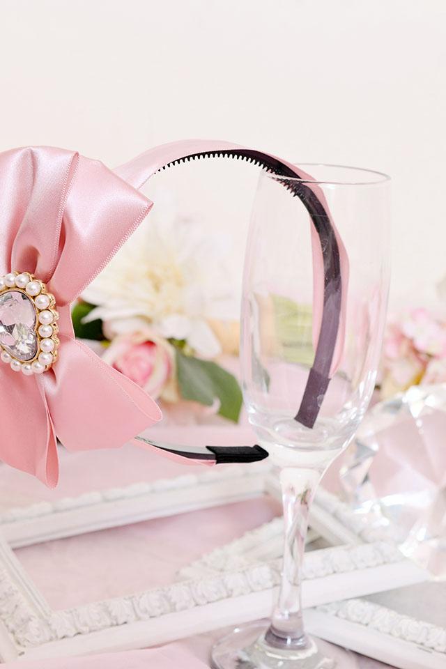 【Princess Melody】♪きらきらハートビジューおりぼんカチューシャ♪ - ピンク size-F