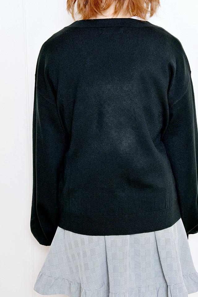 【MA*RS】レースアップりぼんポケット付きカーデ - ブラック size-F