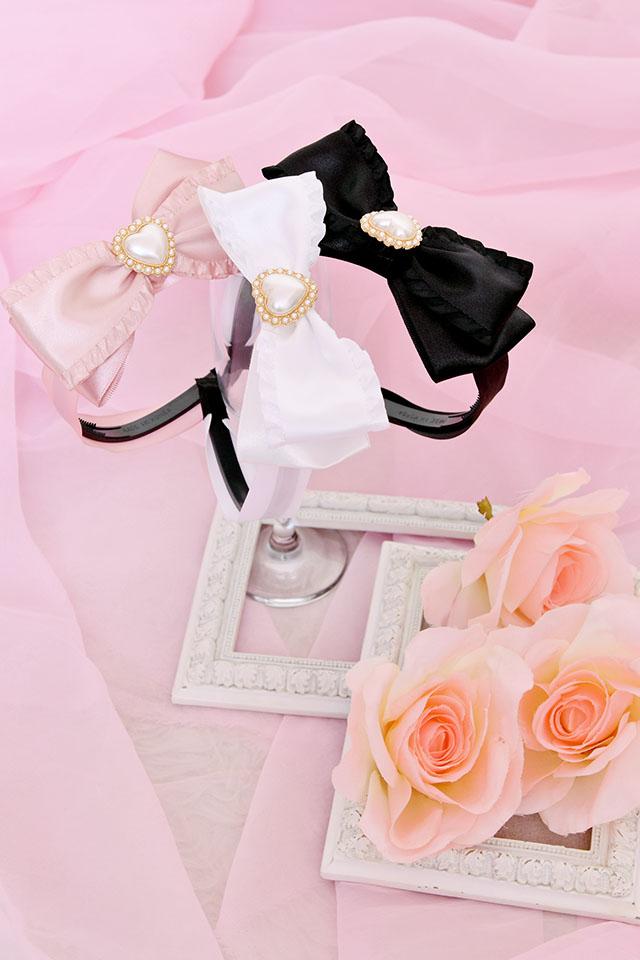 【Princess Melody】♪パールハートサイドフリルおりぼんカチューシャ♪ - ブラック size-F