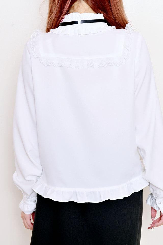 【MA*RS】裾フリルハイネックヨークブラウス - ホワイト size-F