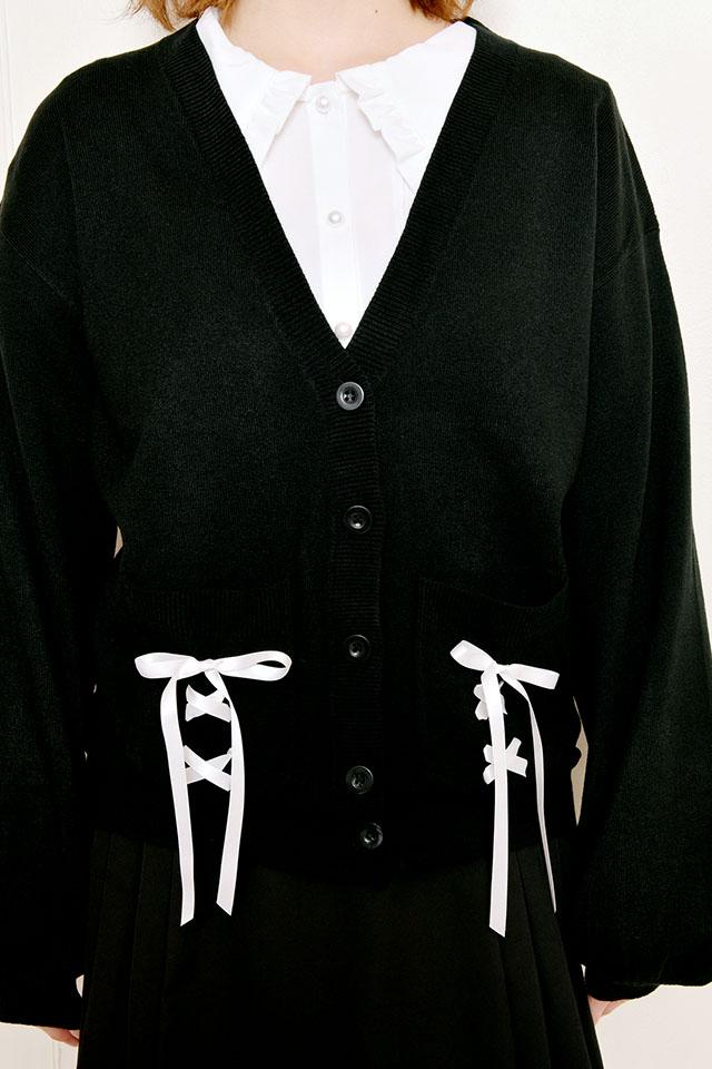 【MA*RS】レースアップりぼんポケット付きカーデ - BLK/ホワイト size-F