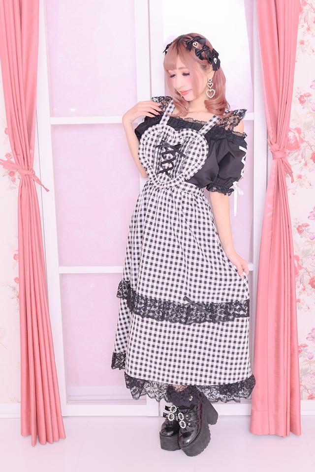 【Princess Melody】♪ハートエプロンロングジャンスカ♪ - WHT/ブラック size-F