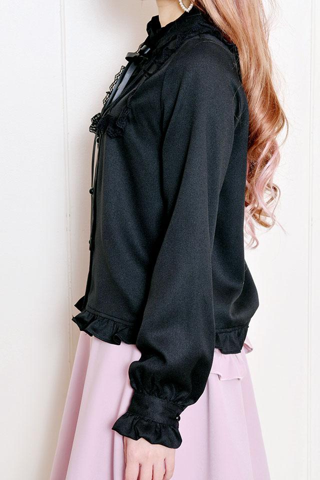【MA*RS】裾フリルハイネックヨークブラウス - ブラック size-F