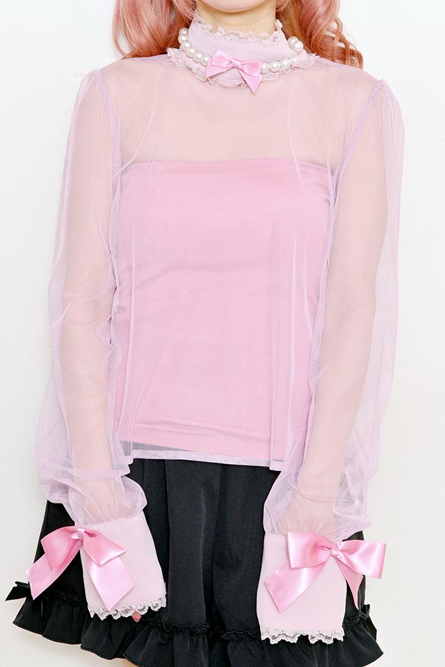 【Princess Melody】♪びっくパール付チュールTOPS(インナー付)♪ - ピンク size-F