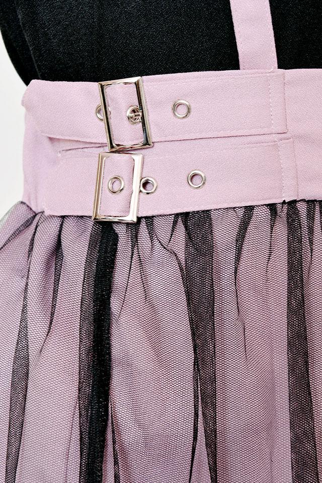 【MA*RS】チュールサイドバックルスカート - ピンク size-F