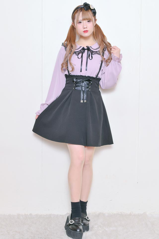 【MA*RS】ハイウエストレースアップスカート - ブラック size-F