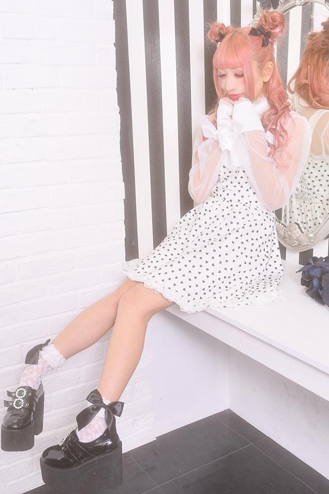 【Princess Melody】♪フロッキーハートチュール重ねエプロンジャンスカ♪ - ホワイト size-F