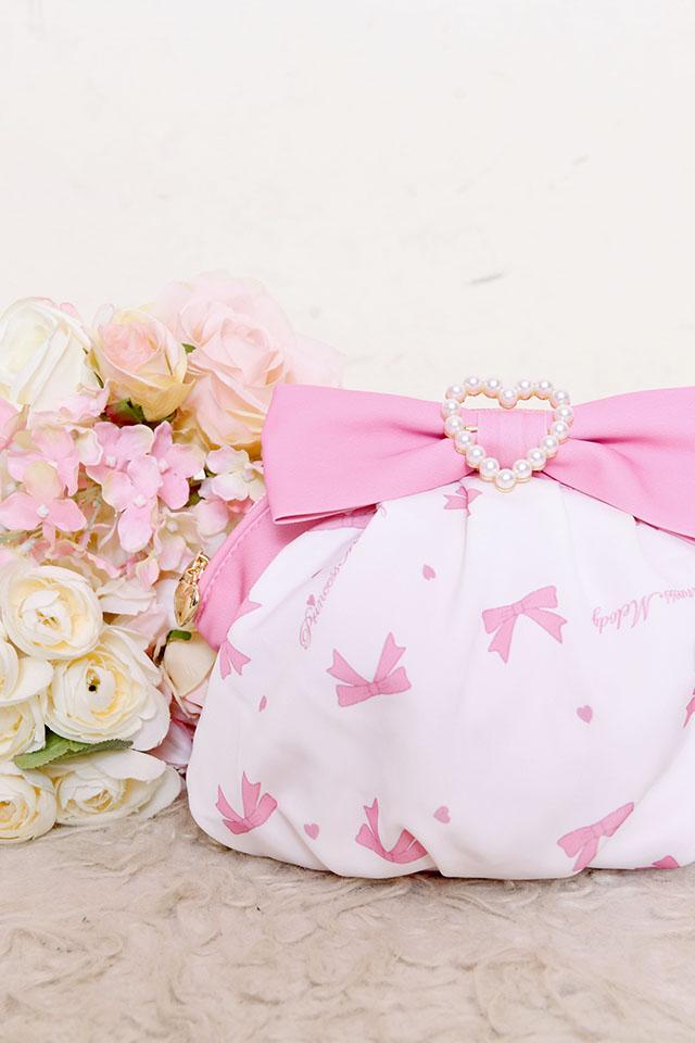 【Princess Melody】♪プリンセスおりぼん柄ポーチ♪ - ホワイト size-F