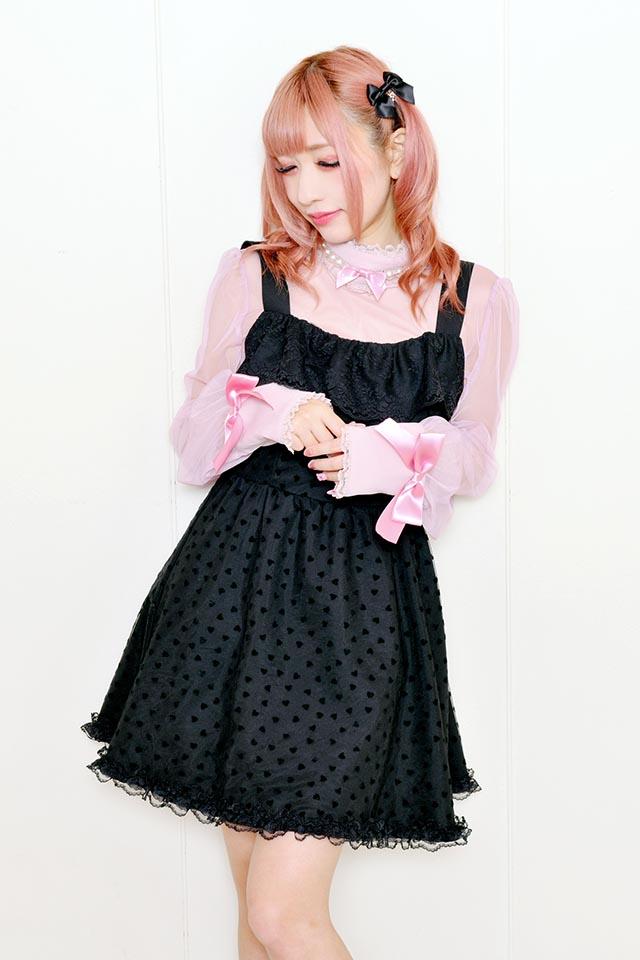 【Princess Melody】♪フロッキーハートチュール重ねエプロンジャンスカ♪ - ブラック size-F
