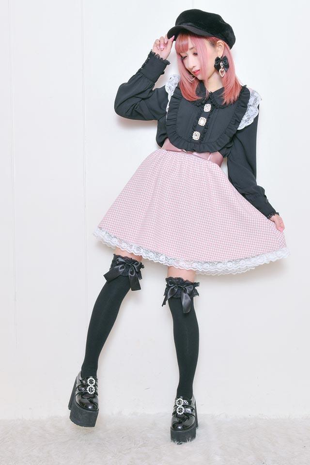 【Princess Melody】♪ラメ千鳥柄おりぼんフレアジャンスカ♪ - ピンク size-F