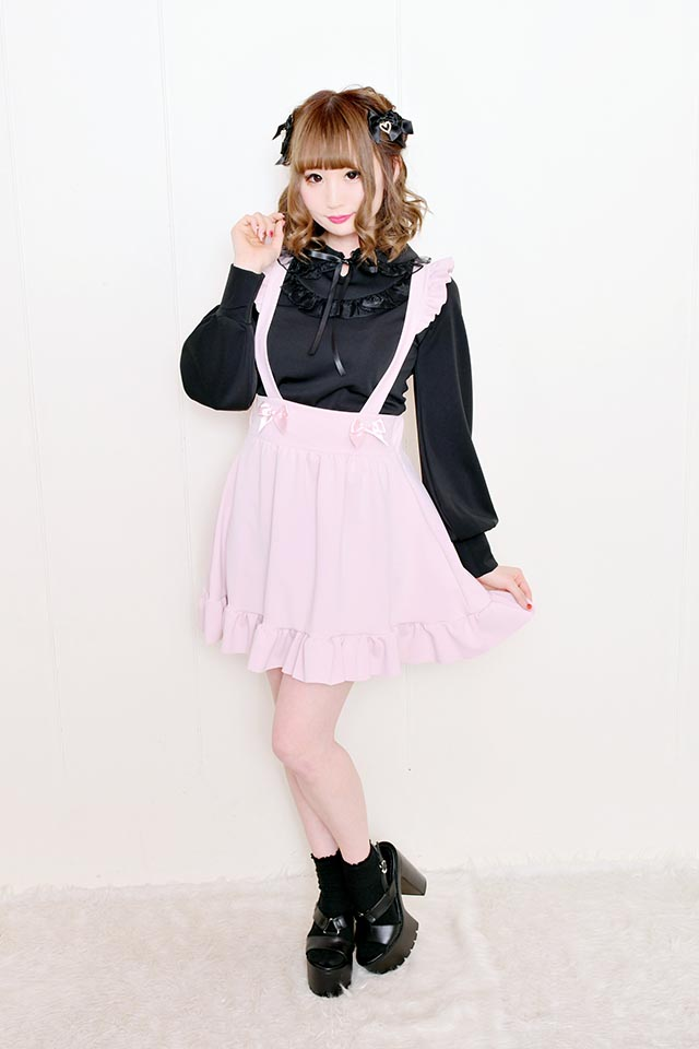 【MA*RS】丸衿ダブルオーガンジーフリルTOPS - ブラック size-F