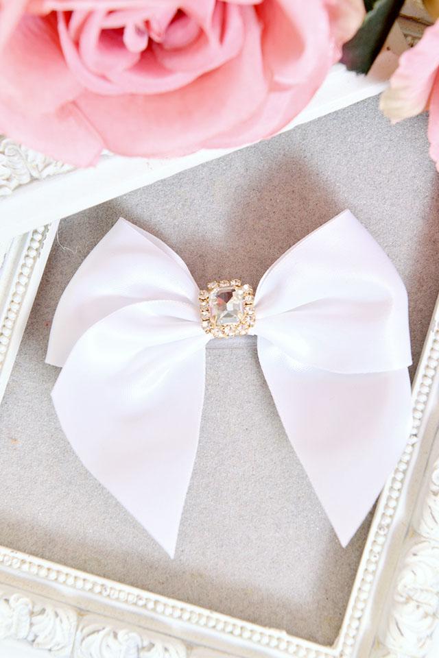 【Princess Melody】♪LiLimPark8周年限定♪ビジューおりぼん前髪クリップ♪ - ホワイト size-F