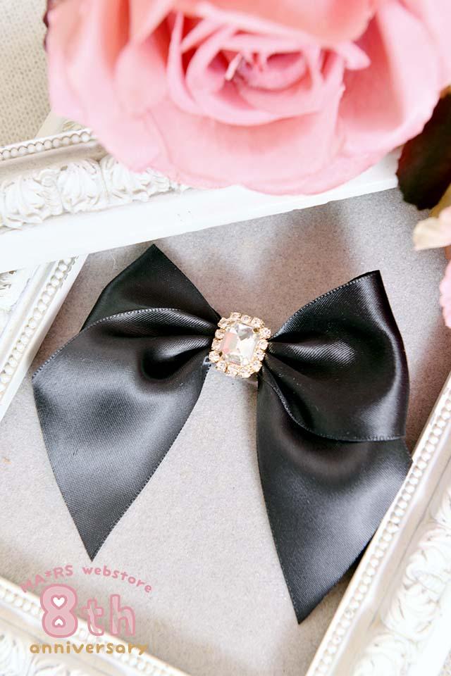 【Princess Melody】♪LiLimPark8周年限定♪ビジューおりぼん前髪クリップ♪ - ブラック size-F