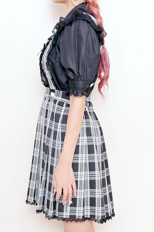 【Princess Melody】♪チェックプリーツエプロンジャンスカ♪ - ブラック size-F