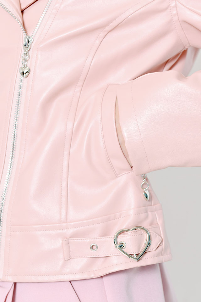 【MA*RS】ハートバックルライダース - ピンク size-F