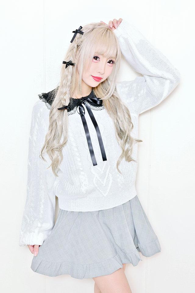 【MA*RS】キャンデイスリーブケーブルニット - ホワイト size-F