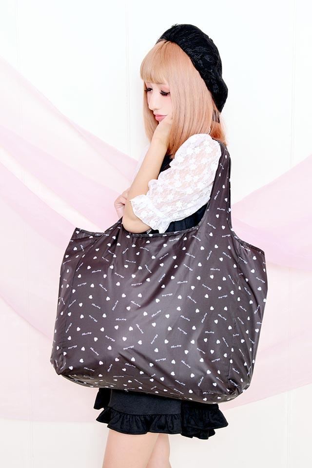 【Princess Melody】♪プリメロハート 折りたたみエコBAG♪ - ブラック size-F