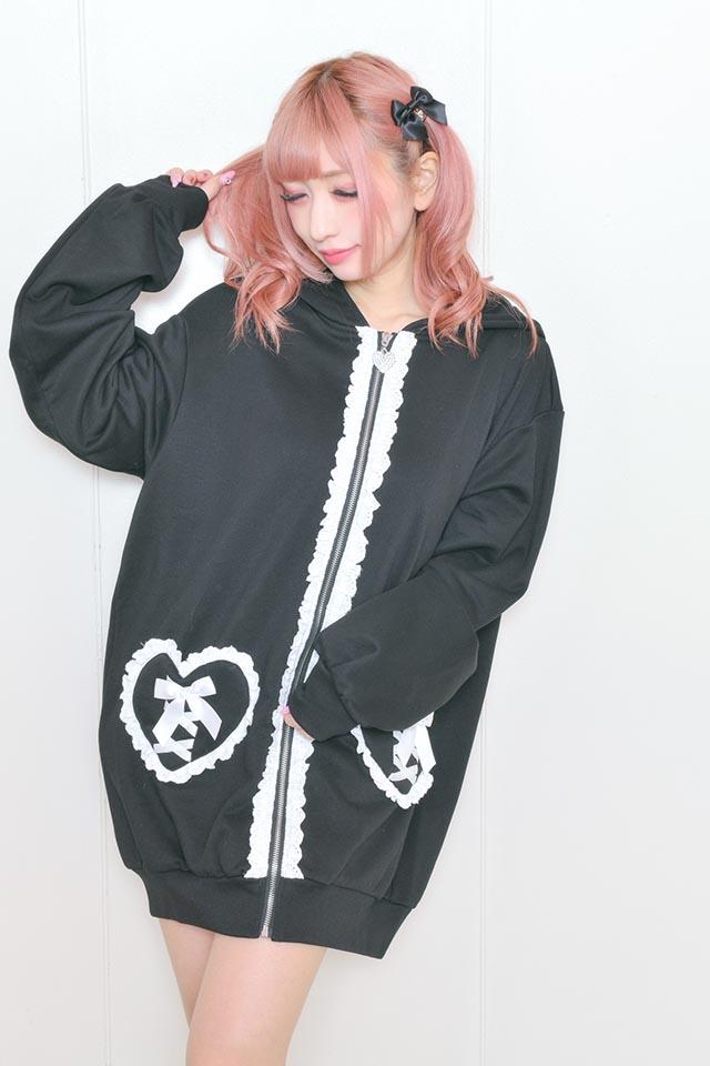 【Princess Melody】♪くまみみハートポッケZIPパーカー♪ - ブラック size-F